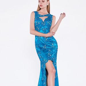 Fully Sequined Leg Slit Long Prom Dress CD7950